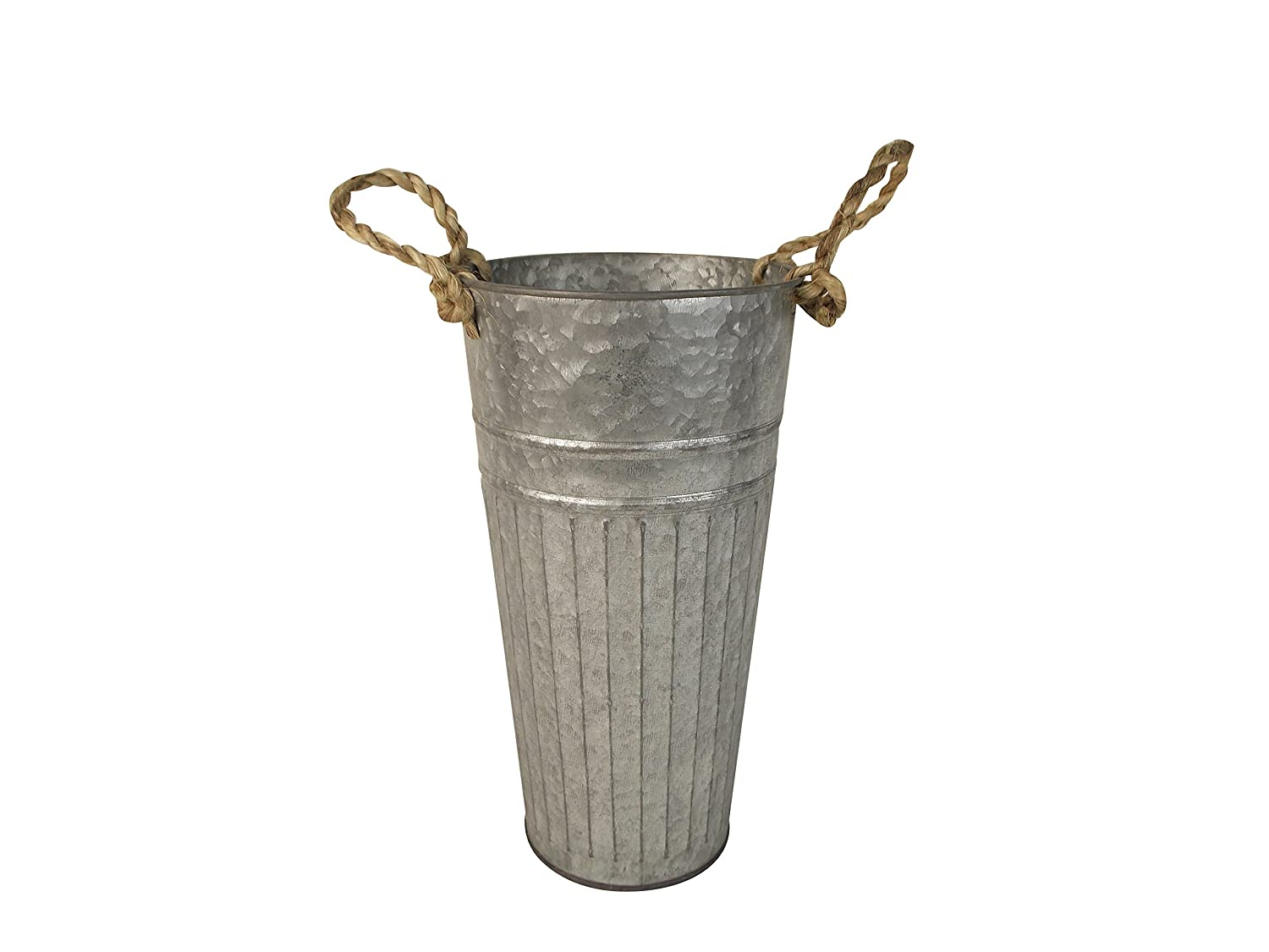 Craft Outlet 5.75-Inch X 5.75-Inch X 11-Inch Tin Bucket with Burlap Handle Craft Outlet Inc T1368