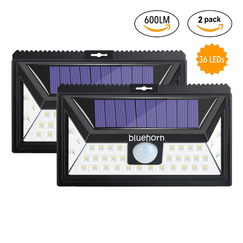 bluehorn Motion Sensor 36 LED Solar Lights, 600LM,Outdoor Waterproof Wireless Solar Security Lights for Driveway Garden Wall Back Door Deck Yard (600LM 2 Pack)