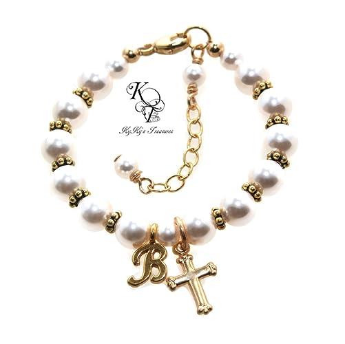 Amazon Com Gold Baptism Bracelet Personalized Baptism Gifts Baby