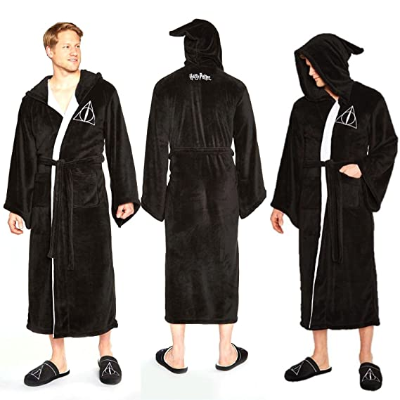 Groovy Harry Potter Deathly Hallows Mens Hooded Bath Robe Dressing Night  Gown Fleece  Amazon.co.uk  Clothing e31157730