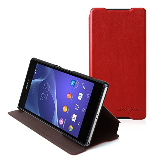 pretty nice ea9cb 8f9e0 Tridea - Sony Xperia Z2 Itallian Card Pocket Case [RED] Cards / ID Slot  Flip Cover Standing Feature Premium Italian Leather Wallet Cover for Sony  ...