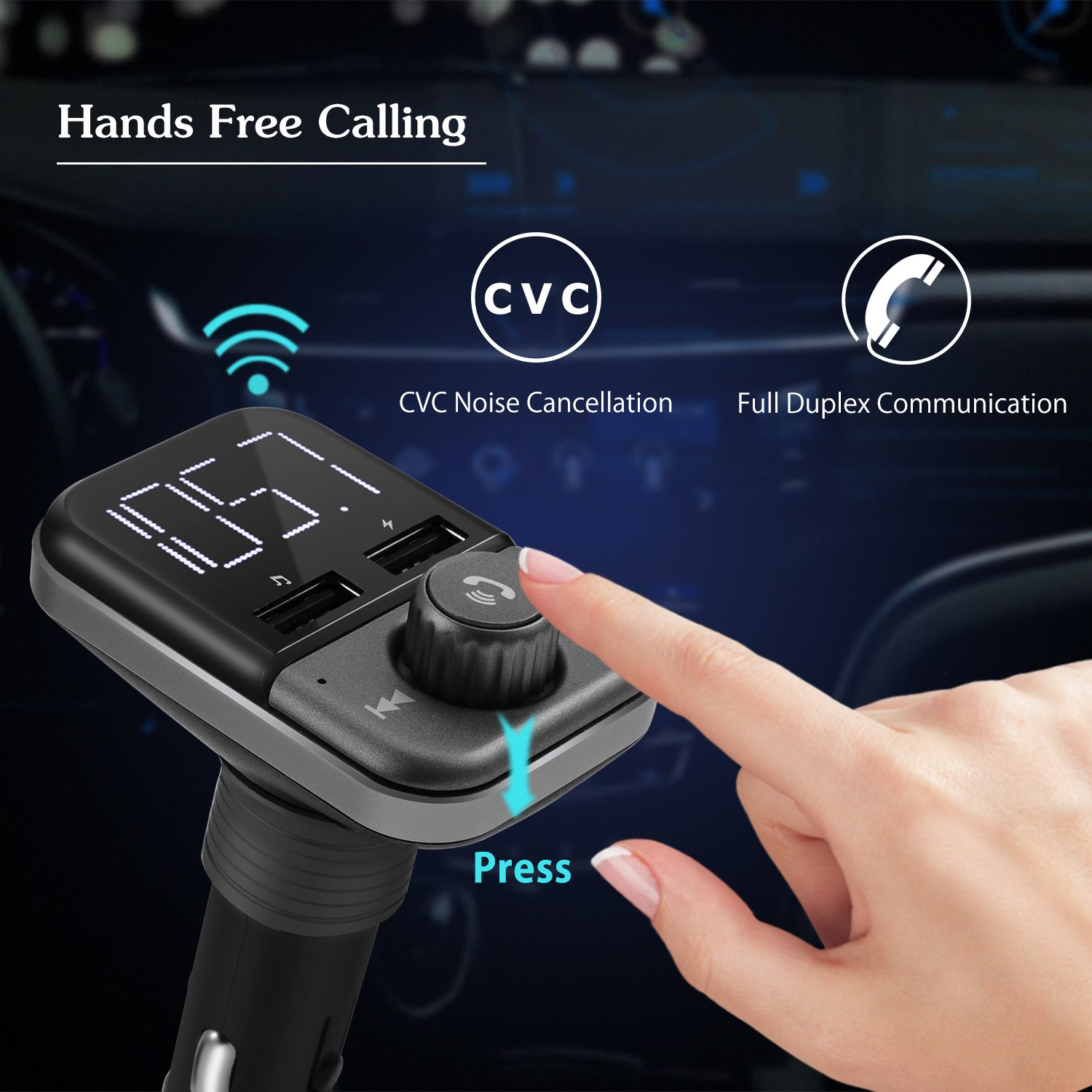 FM Transmitter Bluetooth 4.2 Wireless in-Car Radio FM Transmitter Kit Adapter W 1.4?¡À Display 2.4A Dual USB Car Charger Support TF/SD Card USB Flash Drive AUX Input/Output Car Audio by JMFONE (Image #2)