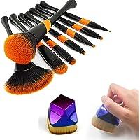 Makeup Brush Set 9 Piece Square Seal Flat Foundation Brush Kabuki Fan-Shaped Blush Eye Shadow Eyeliner Eyebrow Lip Face Brush 55mm for Liquid Silicone(Black)
