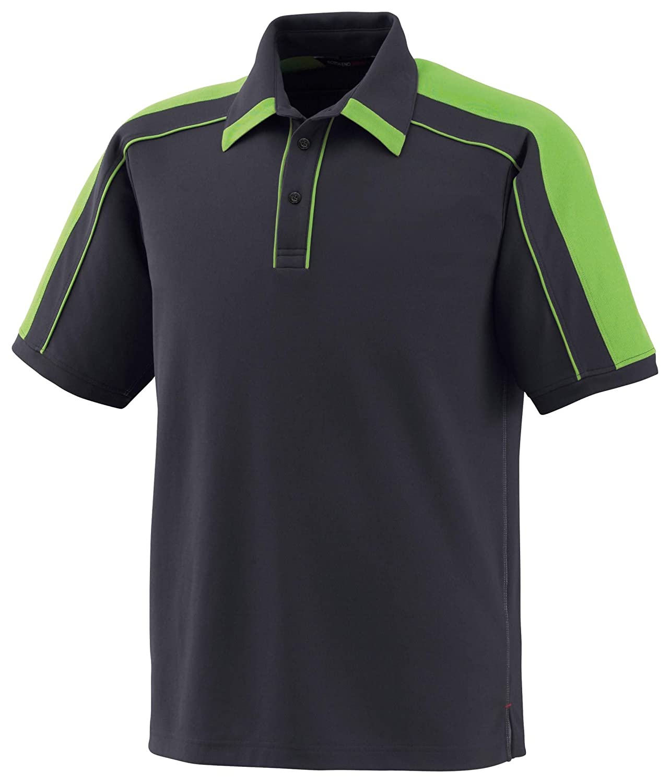 XXL Acid Green Black Silk Sonic Mens Performance Polyester Pique Polo Shirt