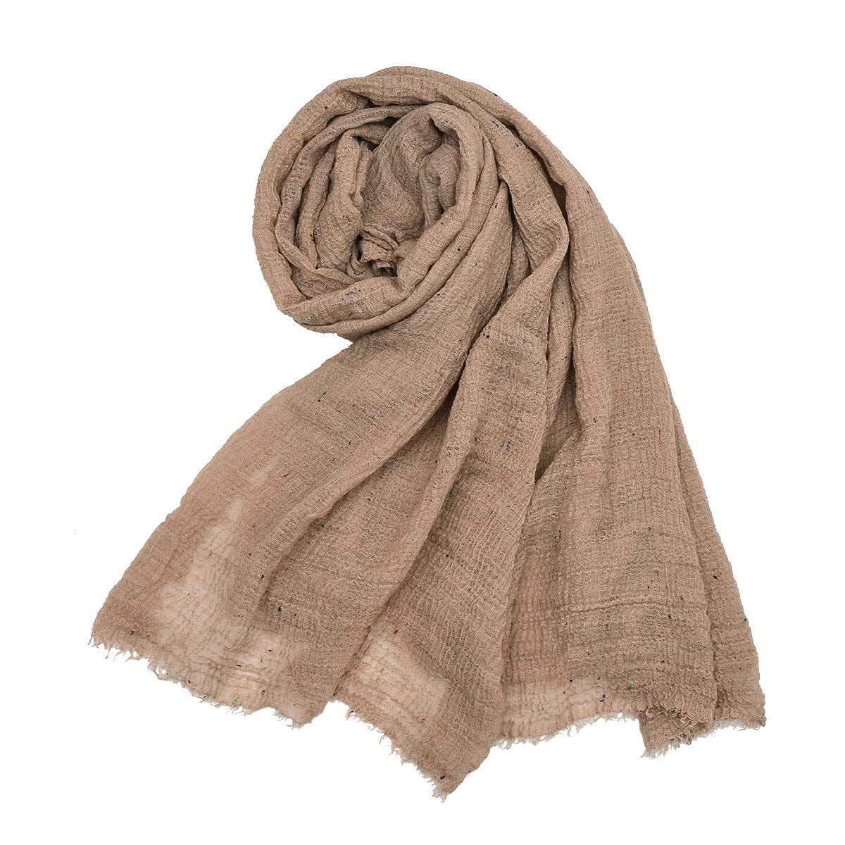 Khaki Sunm Boutique Casual Solid Soft Lightweight Cotton Hemp Scarf Pashmina for Women Lady