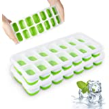 Ice Cube Trays, Silicone Easy-Release and Flexible 14-Ice Trays with Spill-Resistant Removable Lid, BPA Free, Durable and Dis