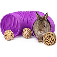 Niteangel Fun Tunnel with 3 Pack Play Balls for Guinea Pigs, Chinchillas, Rats and Dwarf Rabbits (Purple)