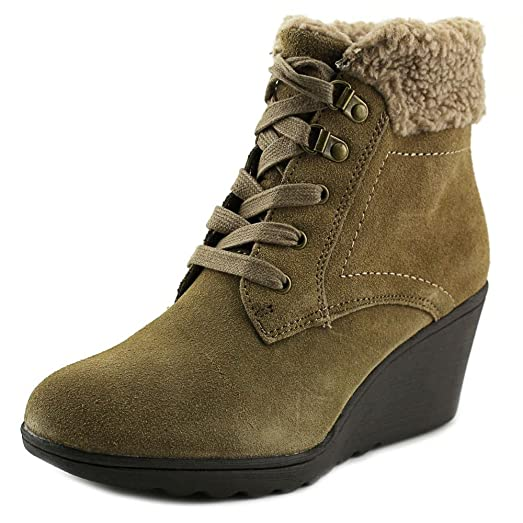 Womens Kipper Faux-Fur Booties Taupe Suede 7.5 M