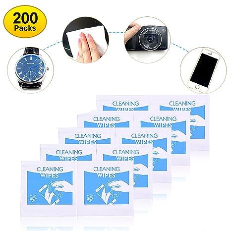 200 PCS Toallitas limpiadoras para lentes para iphone, ipad, cámara, LED y otras