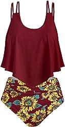 ca6e8945b0 CHARMMA Rosegal Women's Plus Size Strappy Sunflower Overlay High Waist  TankiniSet