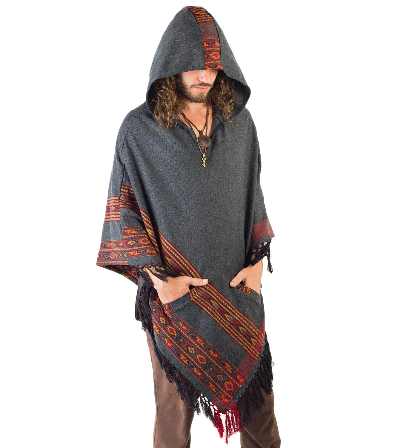 Handmade Dark Grey Hooded Mens Poncho Cashmere Wool with Large Hood and Pockets Jungle Primitive Gypsy Festival Mexican Tribal Embroidered Celtic Earthy Winter Tibetan AJJAYA Wild …