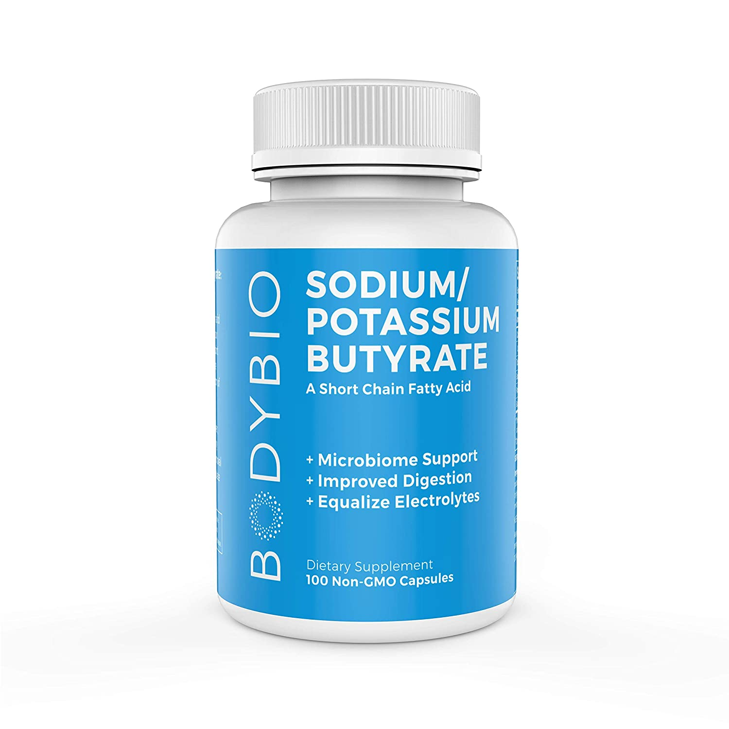 BodyBio Butyrate with Sodium Potassium – Supports Healthy Digestion, Gut Microbiome – Increases Leptin Production for Appetite Control – No Fillers or Additives – 100 Capsules