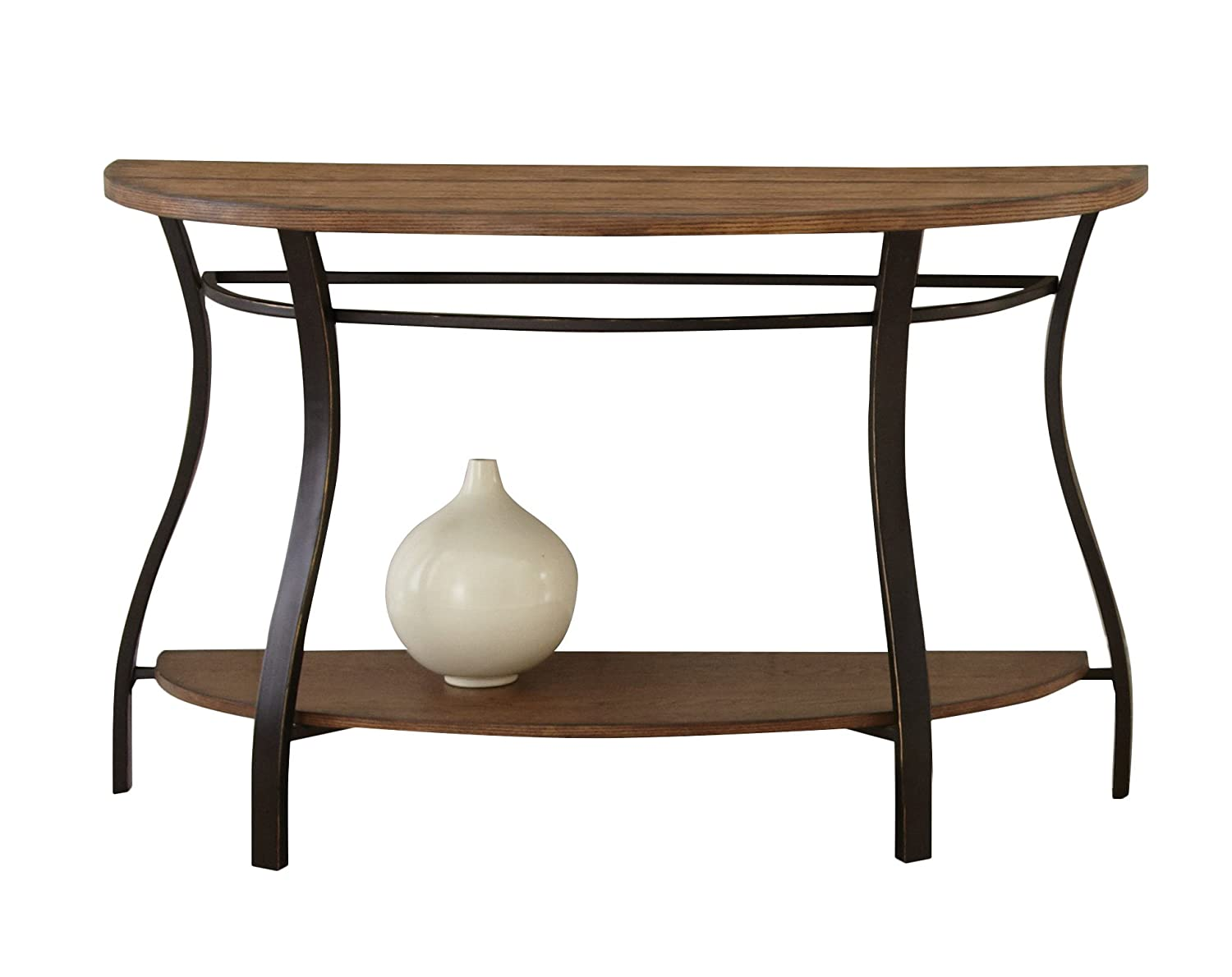 China Furniture Online Elmwood Console Table, 36 Inches Hand Crafted Ming Style Cabinet in Matte Black with Distressed Finish