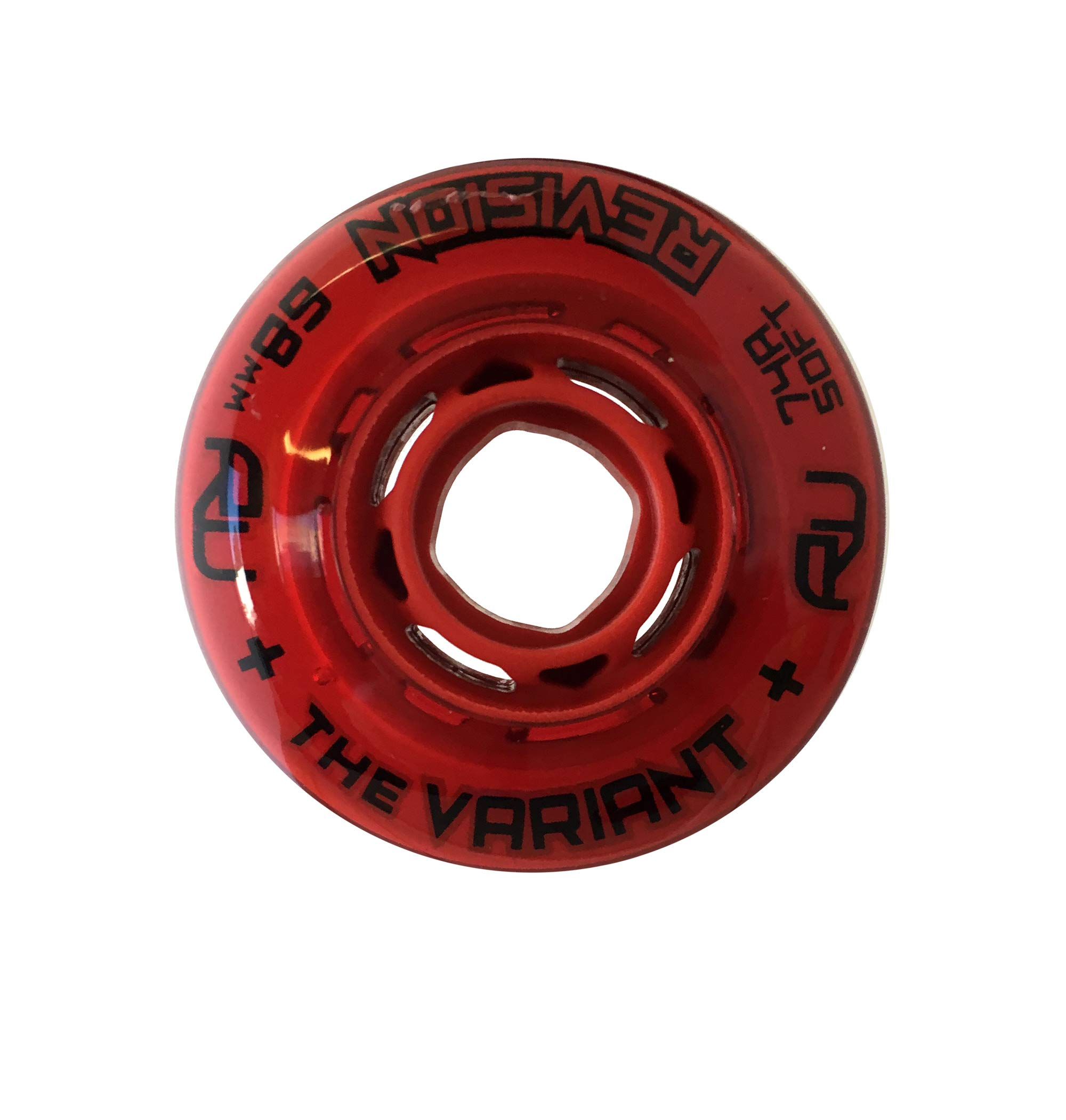 Revision Variant Indoor Inline Roller Hockey Wheel - 74A - 68mm Soft - Red by Revision Hockey