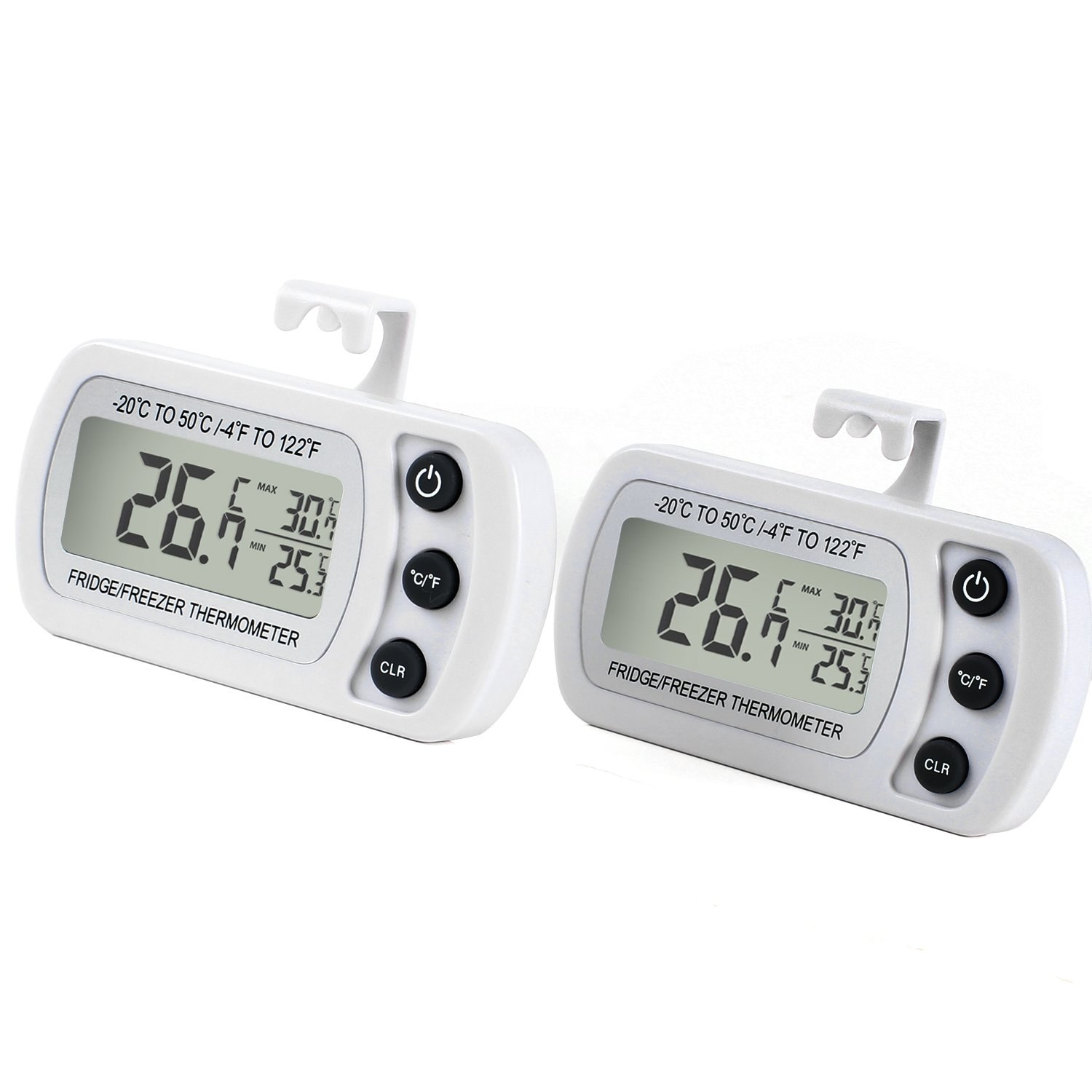 Refrigerator Fridge Thermometer Digital Freezer Room Thermometer Waterproof, Max/Min Record Function with Large LCD Display (2 Pack of White) by Unigear