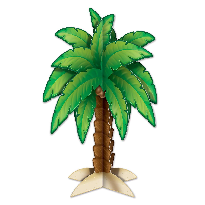 11.75 Green//Brown//Tan 11.75 Beistle 54713 3-D Palm Tree Centerpiece