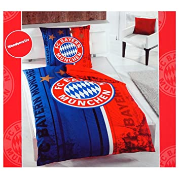 Fc Bayern München Wende Bettwäsche 135 X 200 Cm Rot Blau 5587