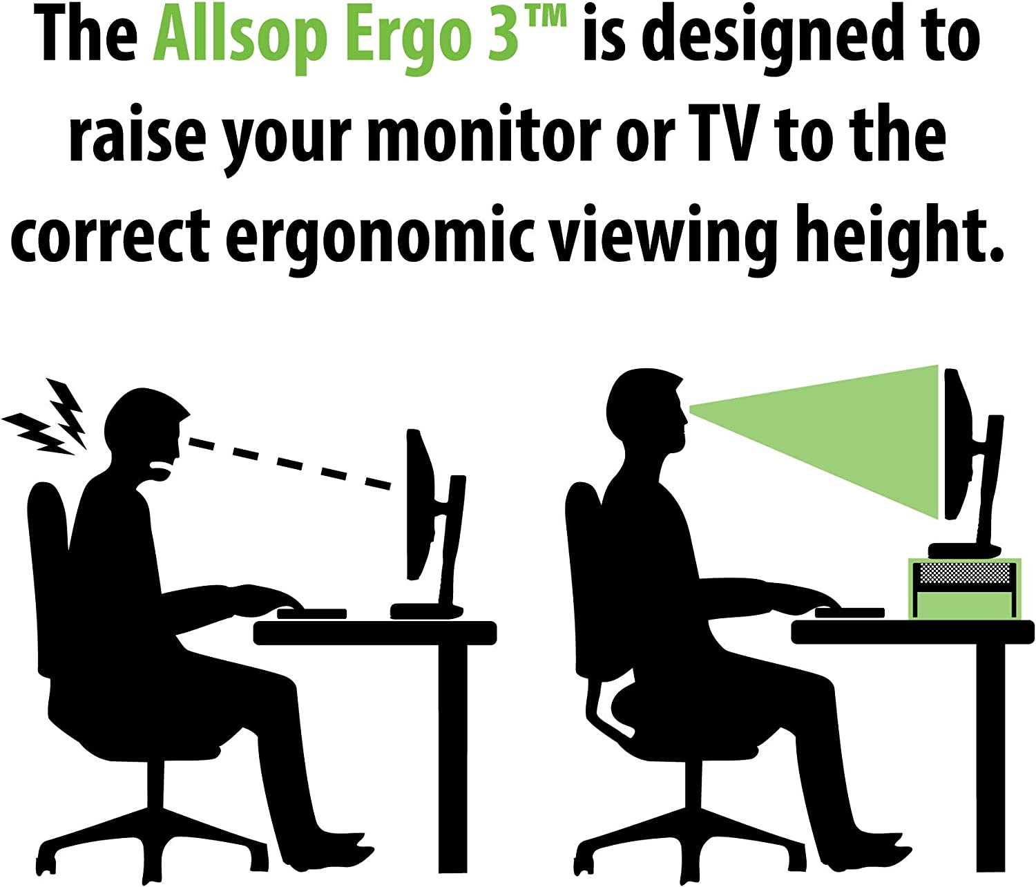 Allsop 31630 Metal Art Ergo 3 Adjustable Height Monitor Stand Steel 15 Inch Platfrm (Pearl Black)