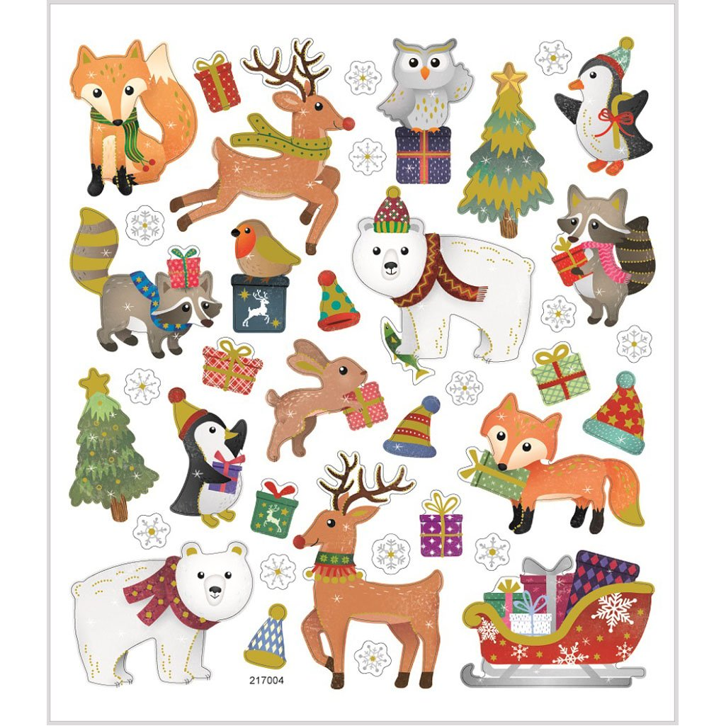 Stickers Christmas Animals, sheet 15x16,5 cm, approx. 38 pc