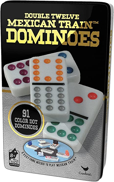Dominoes Double 12 Professional Size Color Dot White Tile With Center Hub New