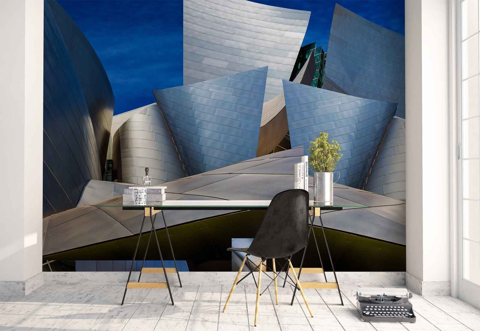 Photo wallpaper wall mural - Steel Panels Shapes Building - Theme Architecture - L - 8ft 4in x 6ft (WxH) - 2 Pieces - Printed on 130gsm Non-Woven Paper - 1X-678031V4