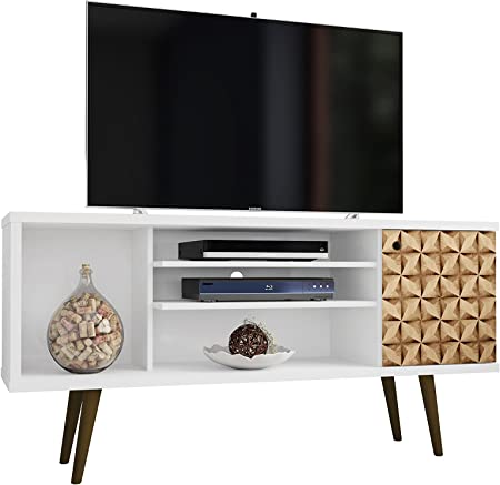 Manhattan Comfort Liberty Collection Mid Century Modern TV Stand With One Cabinet and Three Open Shelves and One Cubby With Splayed Legs, White/Wood: Amazon.es: Juguetes y juegos