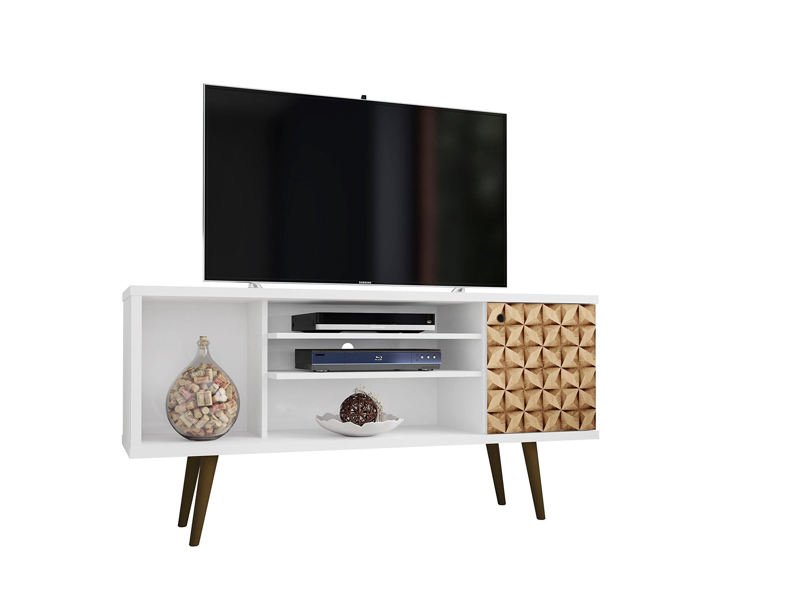 Manhattan Comfort Liberty Mid-Century Modern Living Room TV Stand, Small, White/3D Print by Manhattan Comfort