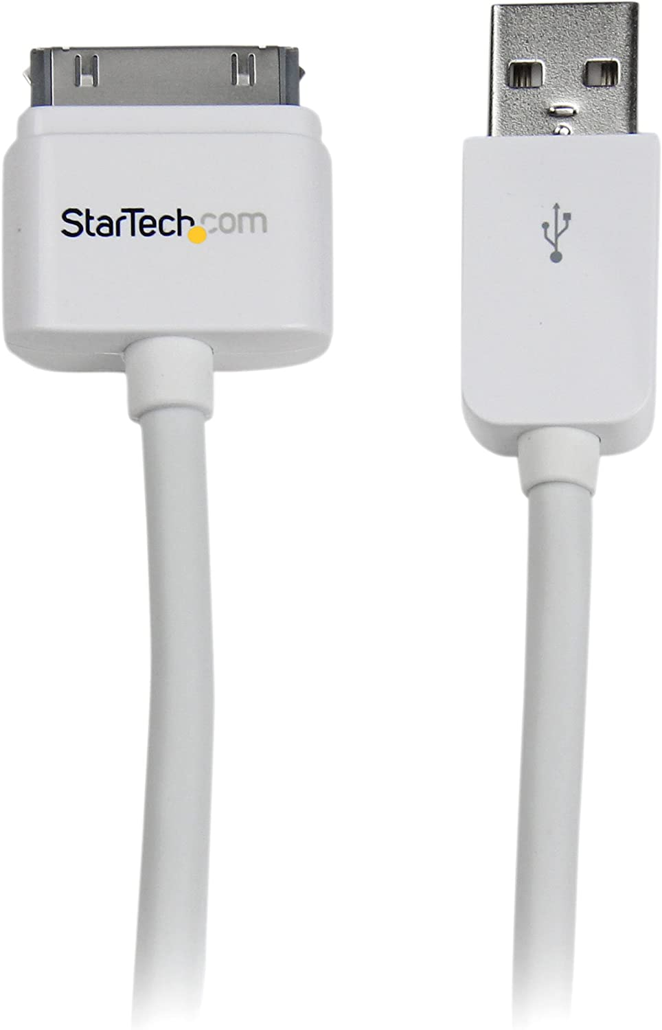 StarTech.com 3m (10 ft) Long Apple 30-pin Dock Connector to USB Cable for iPhone iPod iPad with Stepped Connector (USB2ADC3M),White,9.84 ft