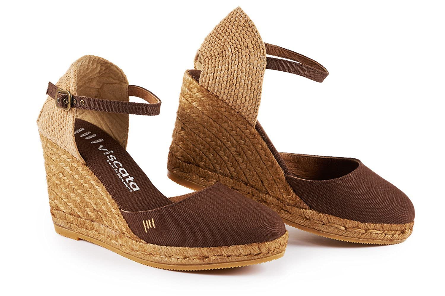 Viscata Satuna 7,6 cm cuneo, ankle-strap, Closed toe, Classic Espadrilles Heel Made in SpainBrown