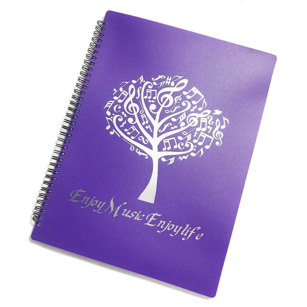 Minimal Life Musical Sheet Folder Protect Eyes Modify Music Folder A4 Size Folder 40 Pockets (Purple)
