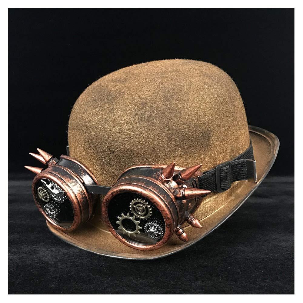 gold JD JDDR Hat, High Quality Retro Lolita Women Men Steampunk Bowler Hat Glasses Topper Top Hats Fedora Billycock Groom Hat