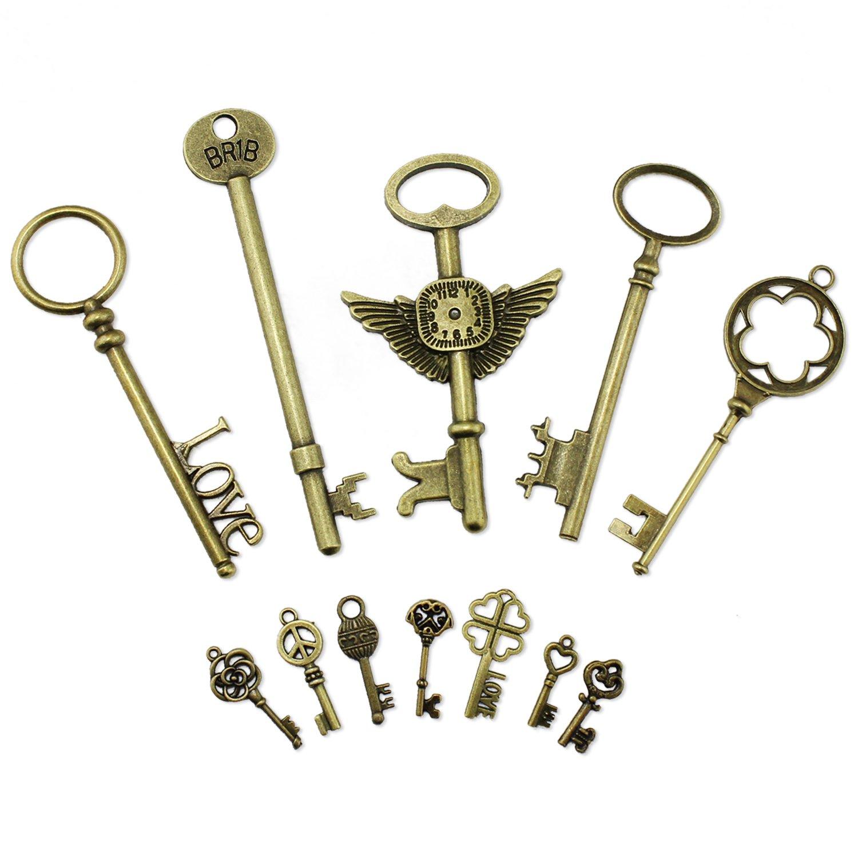 PsmGoods Vintage Skeleton Antique Keys Charm DIY Padlock Old Style Look Bronze 12Pack