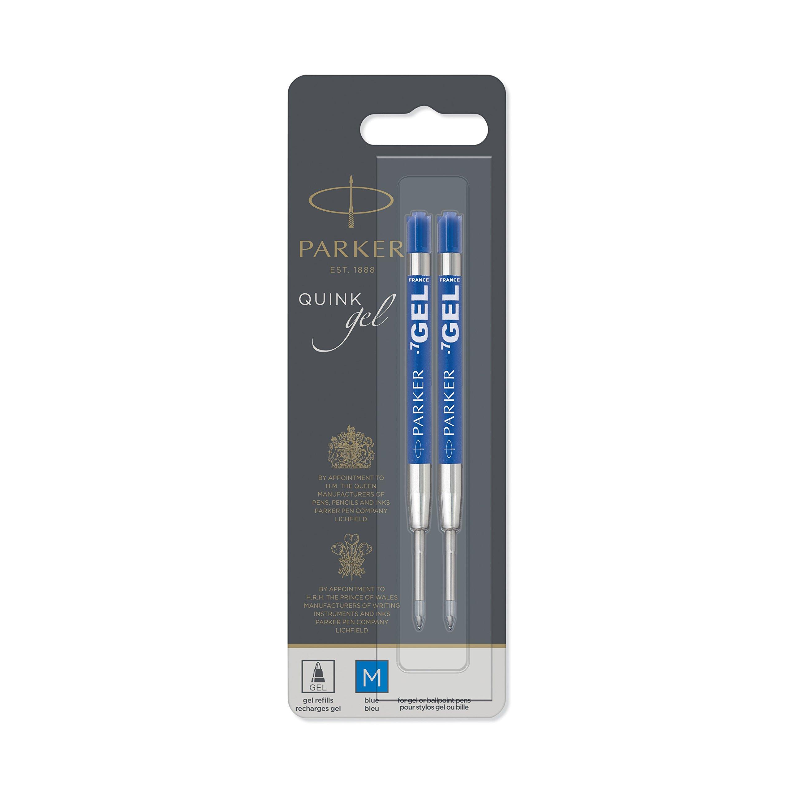 PARKER QUINK Ballpoint Pen Gel Ink Refills, Medium Tip, Blue, 2 Count