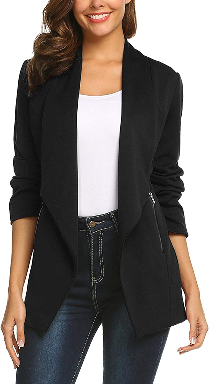 ELESOL Womens Blazer Long Open Front Work Office Stretchy Solid Lapel Casual Business Jacket S-XXL