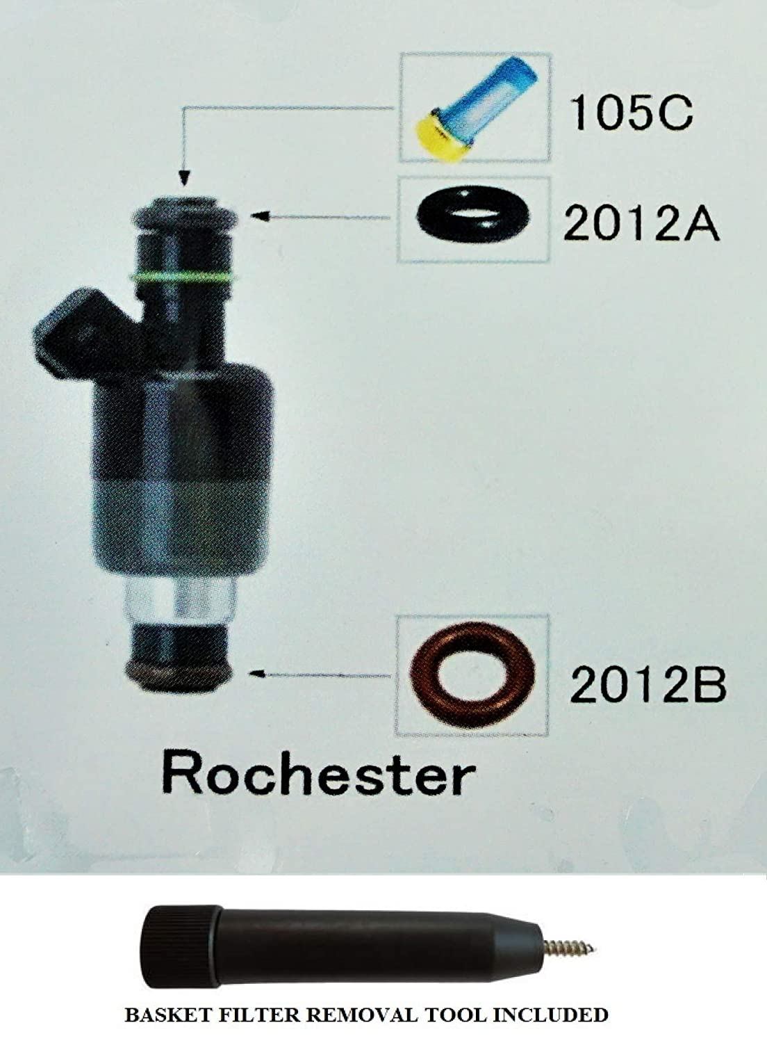 Fuel Injector Rebuild Kit for ROCHESTER with Optional Filter Removal Tool Complete