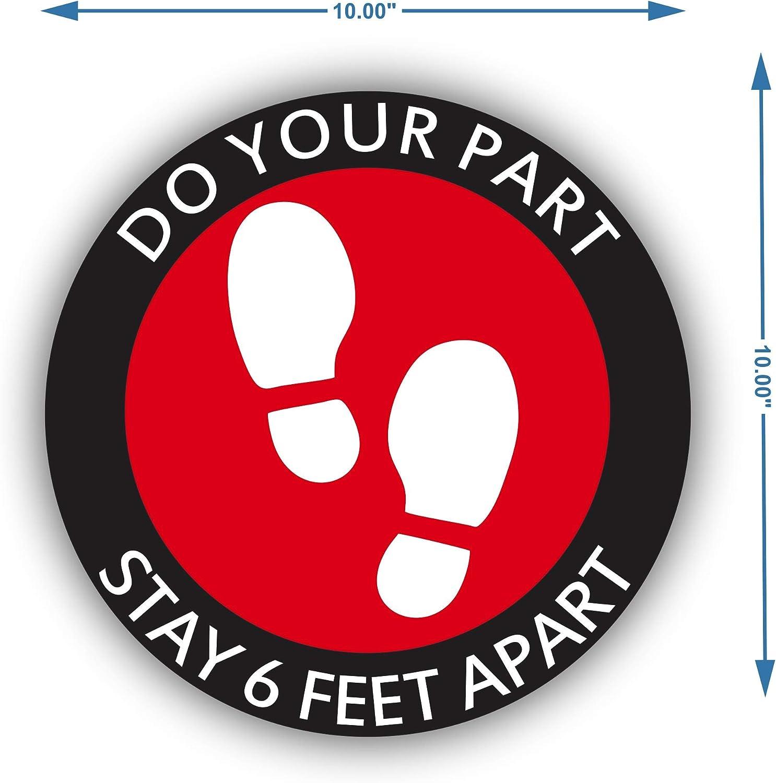 Social Distancing Floor Decals Blue 8 Inches Diameter 6 Feet Apart Floor Stickers 30-Piece Social Distance Floor Stickers
