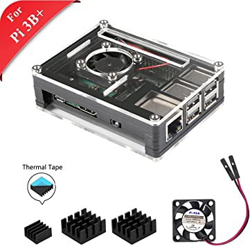GeeekPi Raspberry Pi 3B + Case, Caja de acrílico en Capas de 9 ...