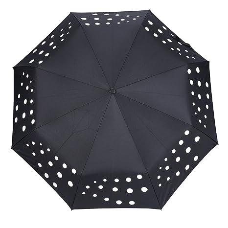 Paraguas Plegable Automático con 8 Varillas, OMOTON Paraguas Automático de Viaje de Color Negro,