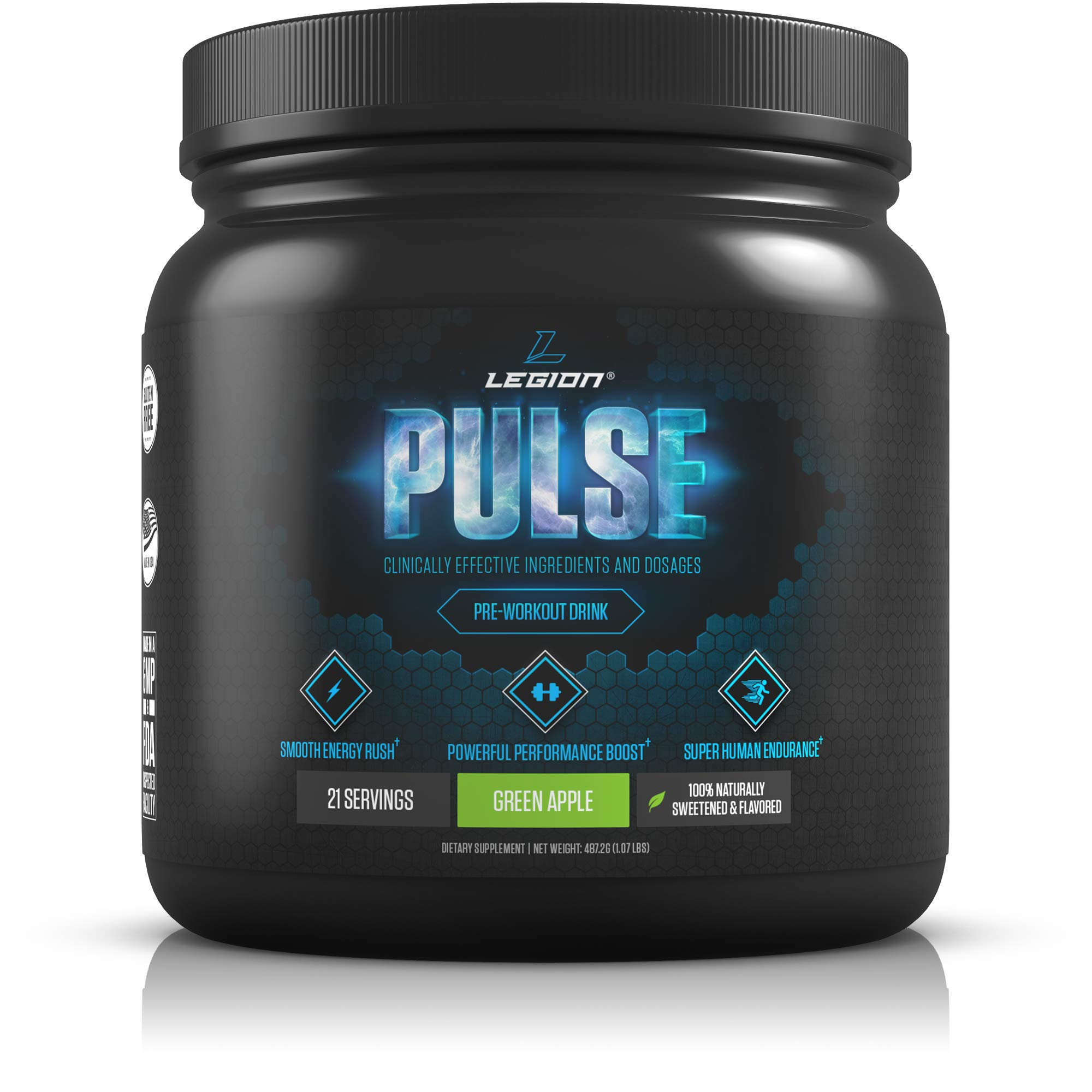 Legion Pulse Pre Workout Supplement - All Natural Nitric Oxide Preworkout Drink to Boost Energy & Endurance. Creatine Free, Naturally Sweetened & Flavored, Safe & Healthy. Green Apple, 21 Servings. by Legion Athletics