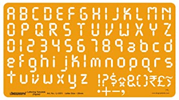 Linograph Digital Lettering Alphabet Stencil Drafting Template Letter Size 20 Mm