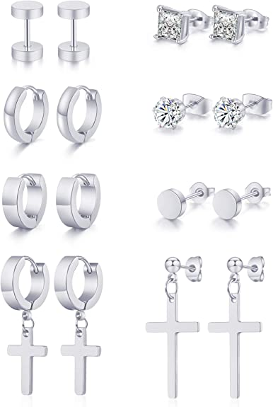 Kiwochy 15 Pairs Stainless Steel Earring Set Women Men CZ Cartilage Spiral Ear Studs Mini Ear Studs Square Round Moon Heart Shaped Small Ball Earrings Set Variety Styles Silver