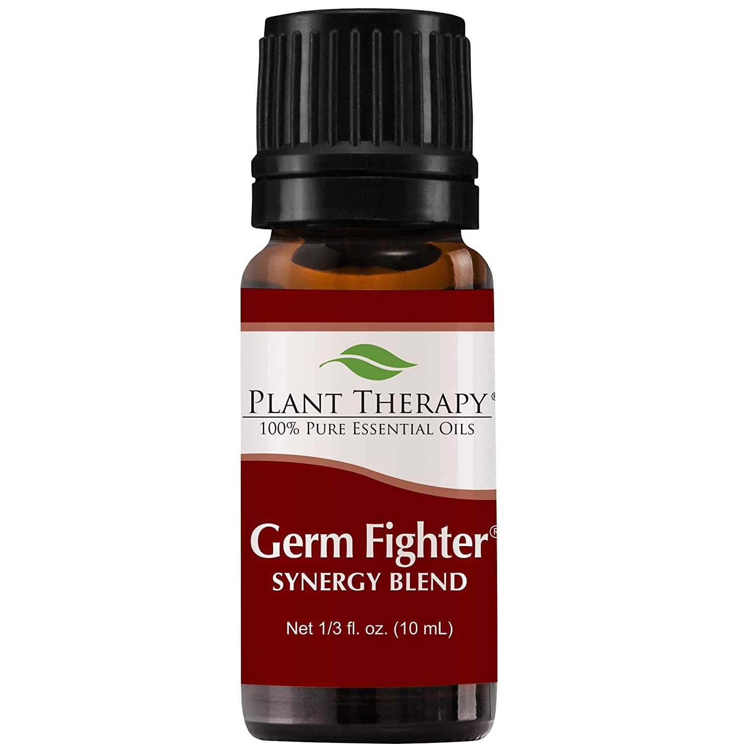 Germ Fighter Synergy Essential Oil Blend. 10 ml (1/3 oz). 100% Pure, Undiluted, Therapeutic Grade. (Blend of: Lemon, Clove Bud, Cinnamon Bark, Eucalyptus, and Rosemary) Plant Therapy Essential Oils