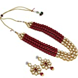 Aradhya Traditional Designer Maroon Beads Kundan Necklace Set with Earrings for Women and Girls