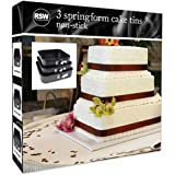 Pack of 3 Non-Stick Springform Square Cake Tins for Baking 24,26,28cm