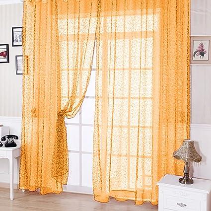 Zibuyu Floral Tulle Voile Door Window Curtain Beige