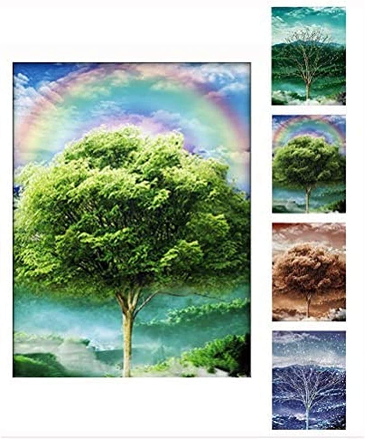 3D Four Seasons Tree Picture, Beautiful Nature Scene of Changing Four Seasons Spring Summer Fall Winter Scenery Mural, Optical Illusion Flipping Images and Holographic Pictures (4 Images in 1)