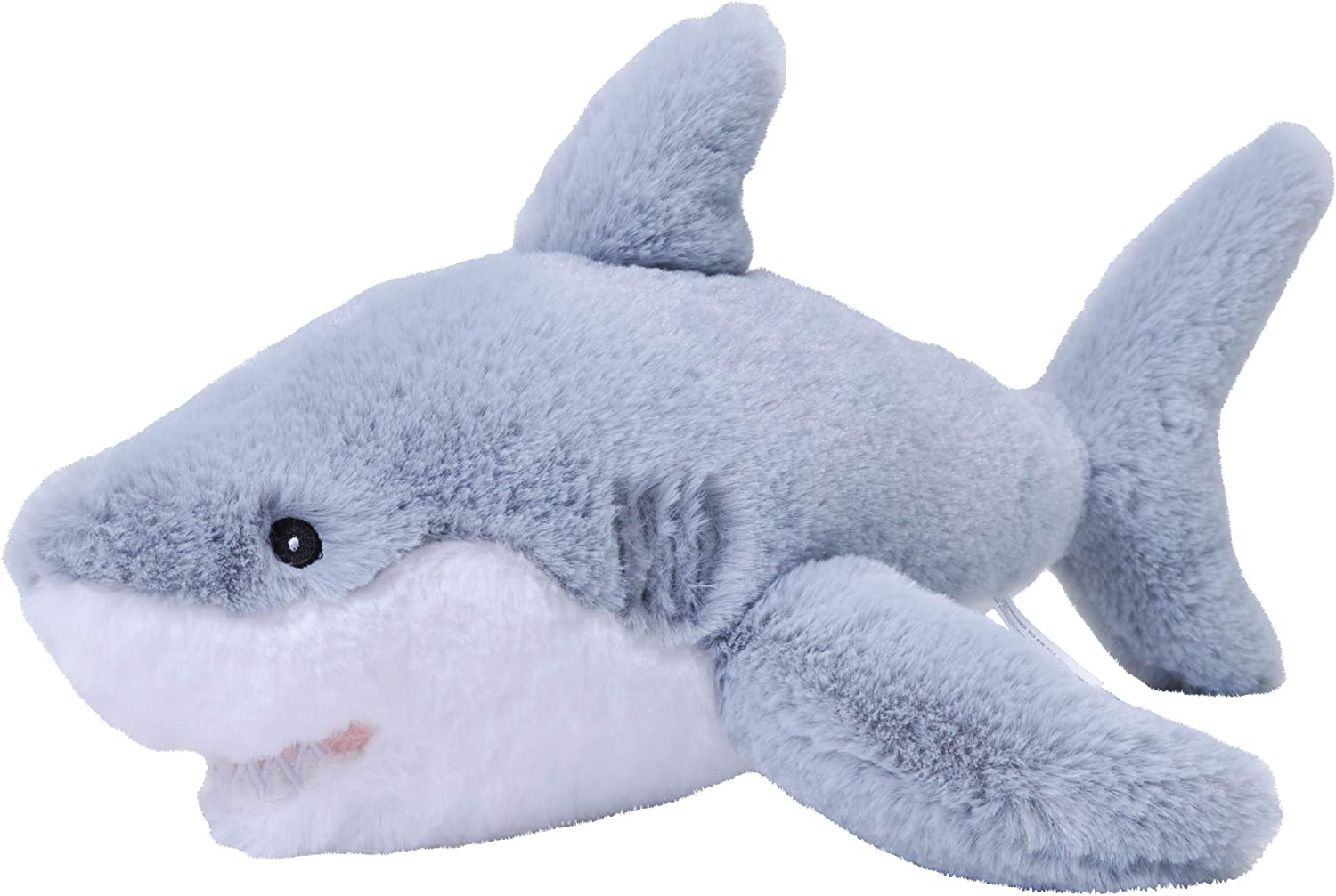Wild Republic EcoKins Great White Shark Stuffed Animal 12 inch, Eco Friendly Gifts for Kids, Plush Toy, Handcrafted Using 16 Recycled Plastic Water Bottles
