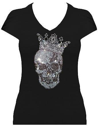 4bbcb62ce60ea9 Skull Shirt Damen Totenkopf mit Krone gross Strass T-Shirt Karneval  Fasching Kostüm Totenkopfshirt