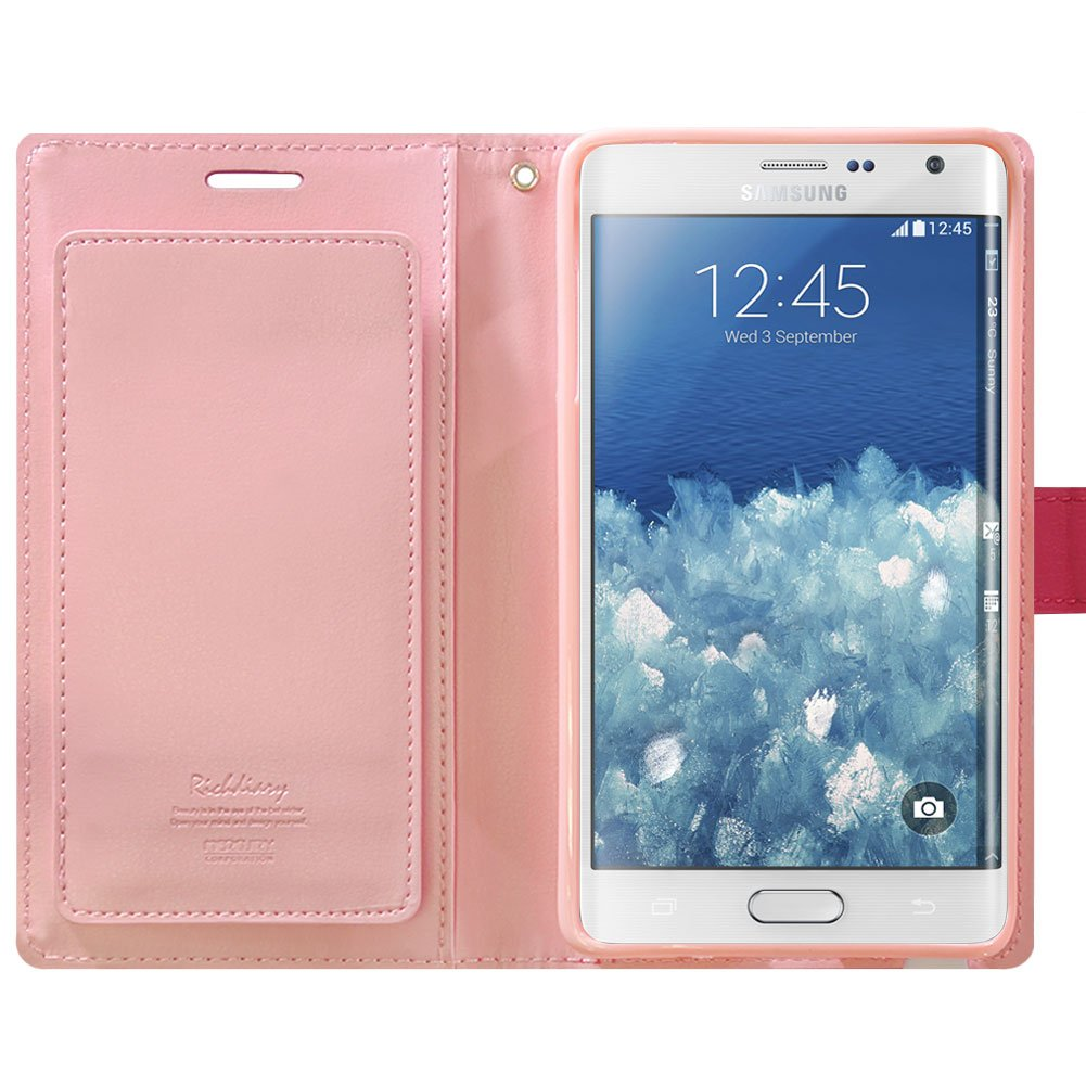 Galaxy Note Edge Case Drop Protection Goospery Rich Samsung 8 Fancy Diary Pink Hotpink Wallet Premium Soft Synthetic Leather Id Card Cash Slot Cover For