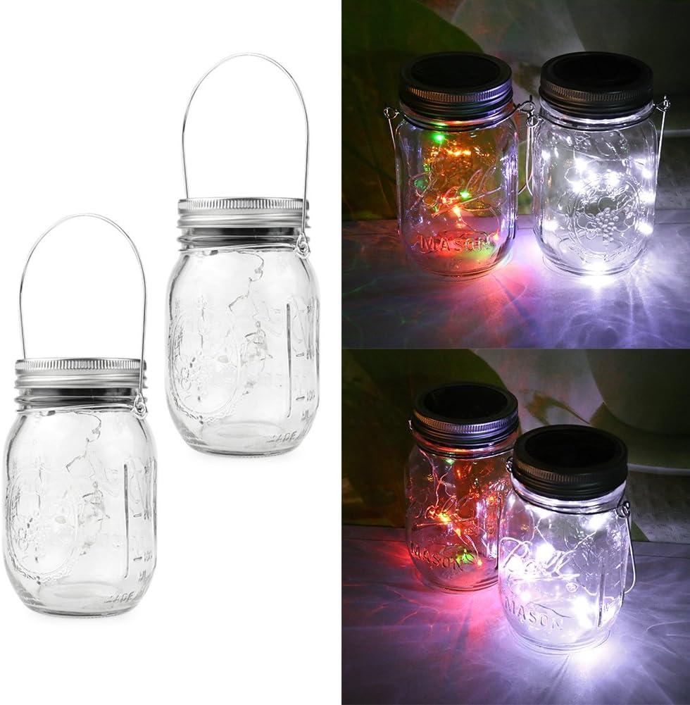 Mason Jar Lights LED Solar Tapa impermeables Hanging Light Luces ...